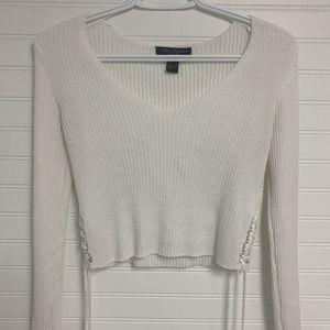 Streetwear Society White Long Sleeve Cropped Shirt
